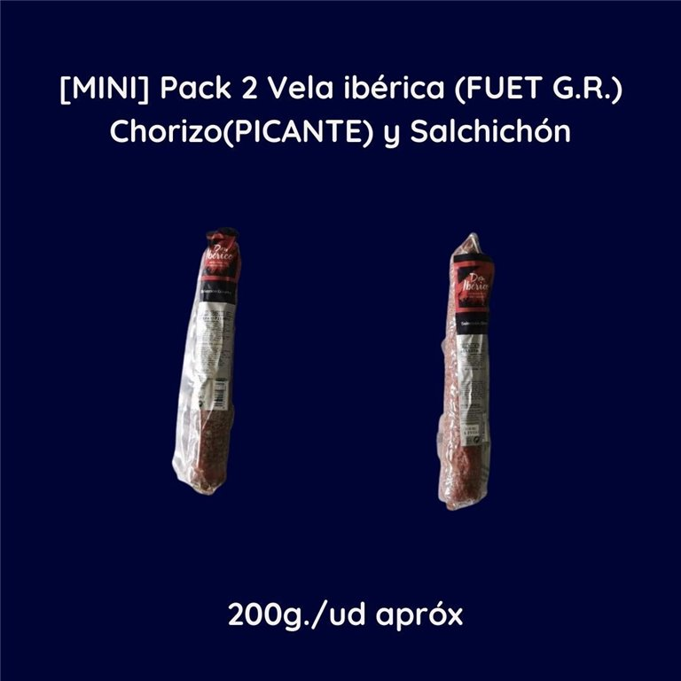 [MINI] Pack 2 Iberian Candle (FUET G.R.) Chorizo(PICANTE) and Salchichón 2x200g approx