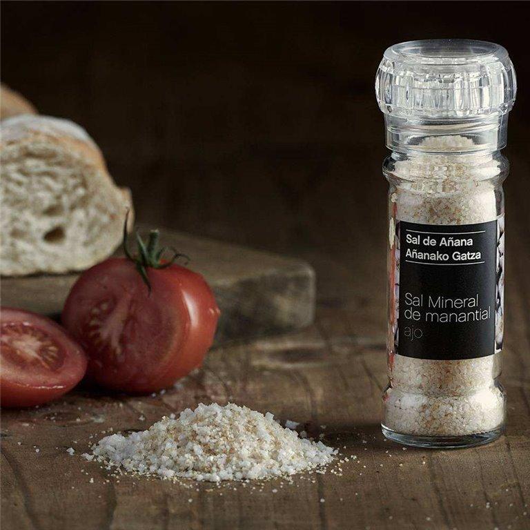 Molinillo de Sal Mineral de Manantial con Ajo 75 gr Sal de Añana