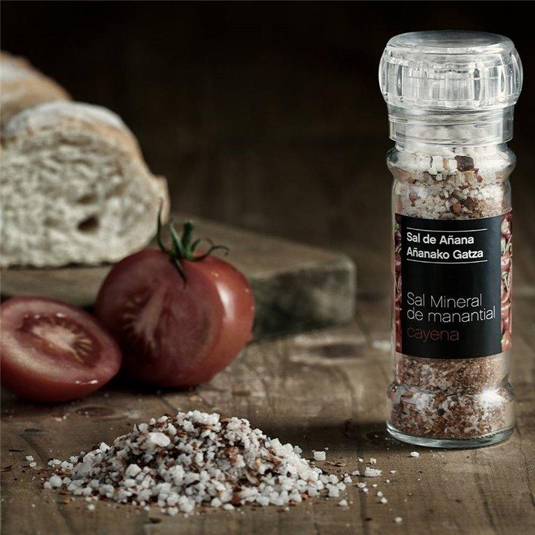 Molinillo de Sal Mineral de Manantial con Cayena 75 gr Sal de Añana