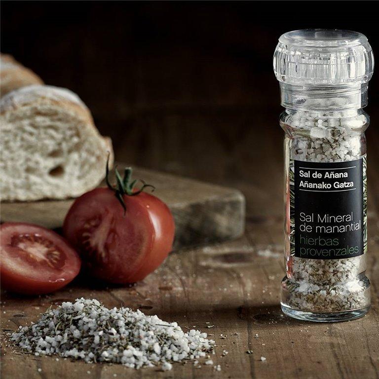 Molinillo de Sal Mineral de Manantial con Hierbas Provenzales 75 gr Sal de Añana