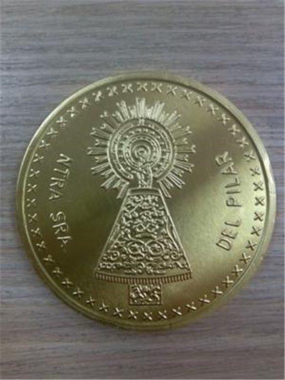 Moneda oro chocolate Pilar, 1 ud