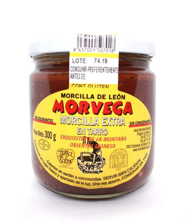 Morcilla de León Extra en tarro de cristal de 300 gramos.