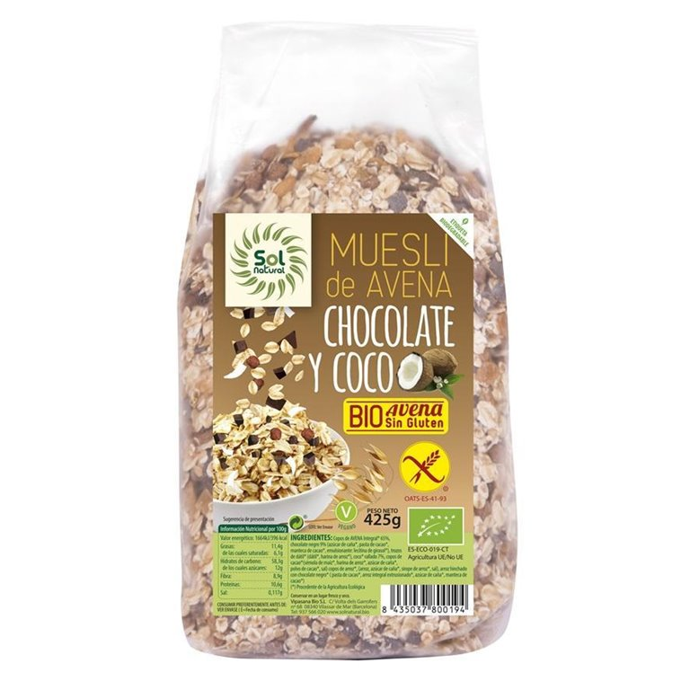Muesli de Avena con Chocolate y Coco Sin Gluten Bio 425g