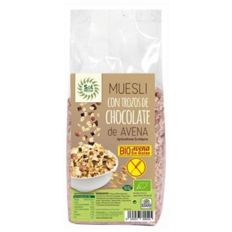 Muesli de Avena con Trozos de Chocolate Sin Gluten Bio 425g, 1 ud