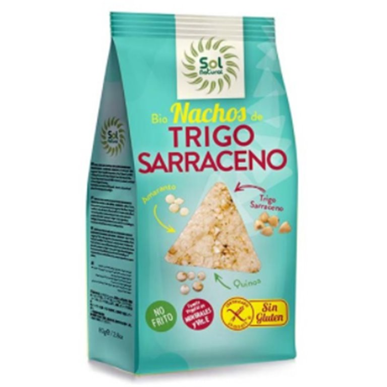 Nachos de Trigo Sarraceno con Amaranto y Quinoa Sin Gluten Bio 80g