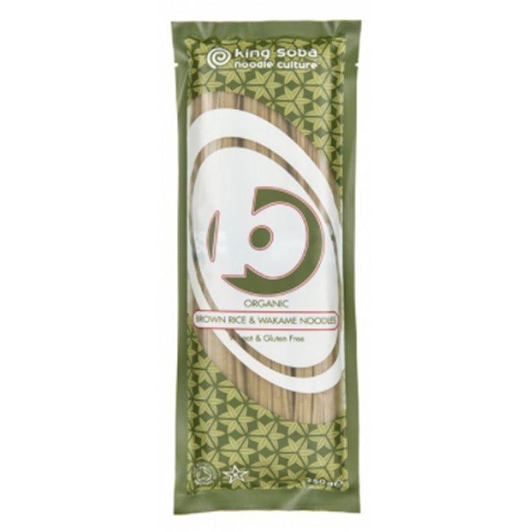 Noodles de Arroz Integral y Alga Wakame Sin Gluten Bio 250g, 1 ud