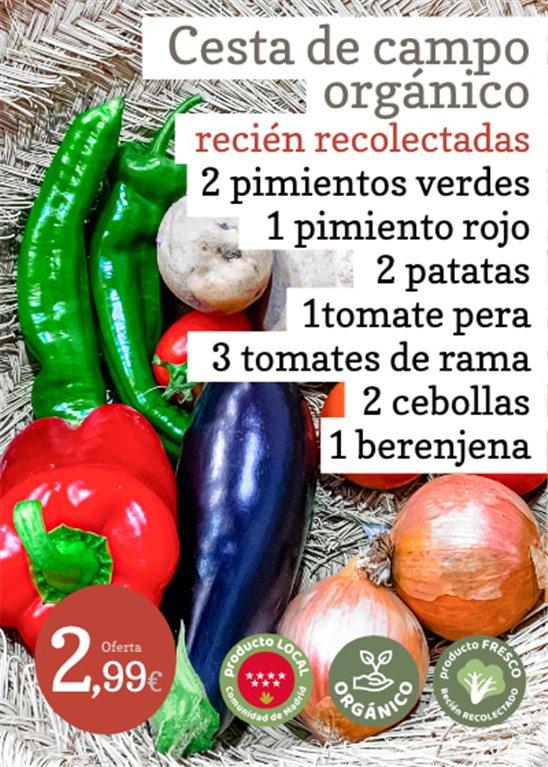 Oferta: Cesta de campo orgánico  2 pimientos verdes  + 1 pimiento rojo  + 2 patatas + 1 tomate pera + 3 tomates rama + 2 cebollas + 1 berenjena