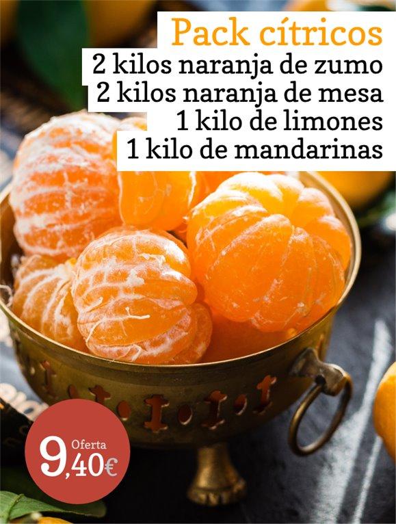 Oferta: Pack cítricos 2kg de naranjas de zumo + 2kg de naranjas de mesa + 1kg de limones + 1kg de mandarinas
