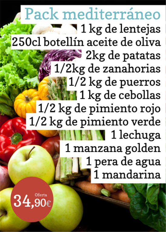 Oferta: Pack mediterráneo  1 kg de lentejas  + 1 botella de aceite de oliva 250cl  + 2 kg de patatas  + 1/2kg de zanahorias  + 1/2 kg de puerros  + 1 kg de cebollas  + 1/2 kg de pimiento rojo + 1/2 kg de pimiento verde + 1 lechuga + 1 manzana golden + 1 pera de agua + 1 mandarina