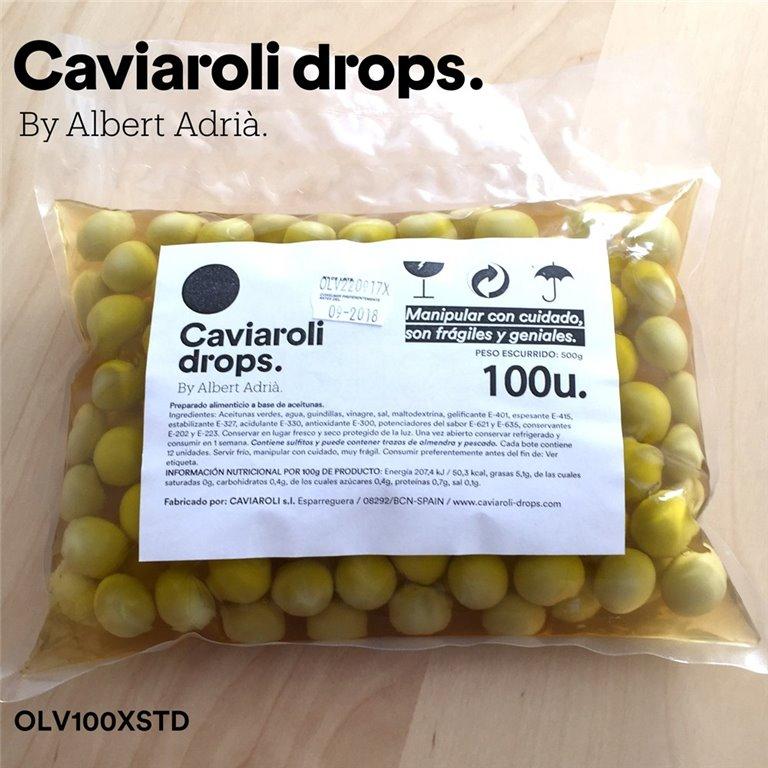 Oliva Verde Esférica Drops (100 olivas) 500gr. Caviaroli. 1un., 1 ud