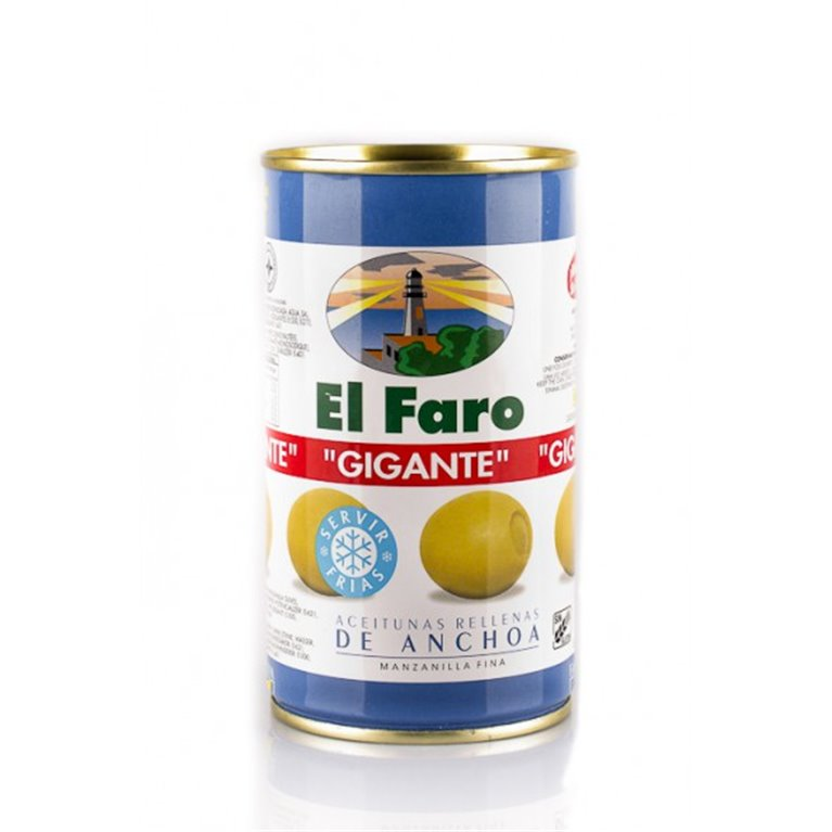 Olivas el Faro Gigantes Rellenas de anchoa 350 gr., 1 ud