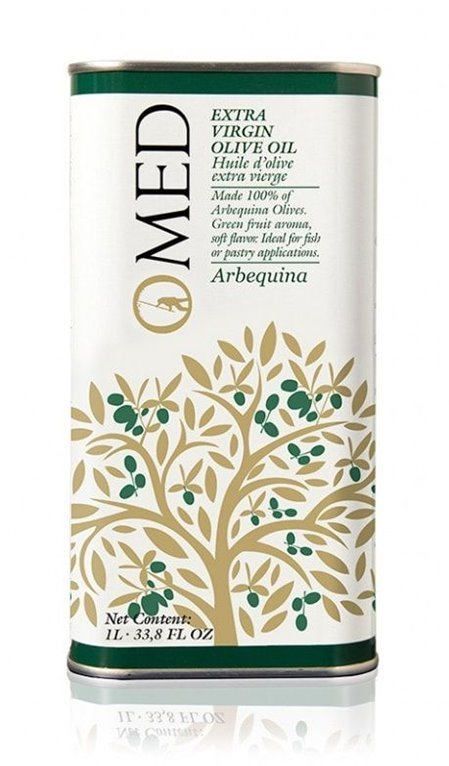 Omed. Aceite de oliva virgen extra Arbequina. 9 Latas de 1 Litro., 1 ud