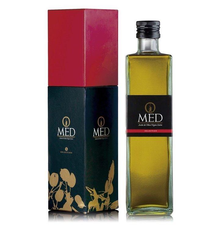 Omed. Aceite de oliva virgen extra Picual. Estuche regalo + botella. 9 unidades, 1 ud