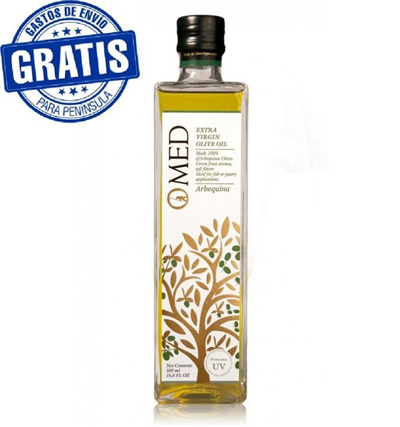 Omed. AOVE Arbequina UV. Caja de 9 botellas de 500 ml.
