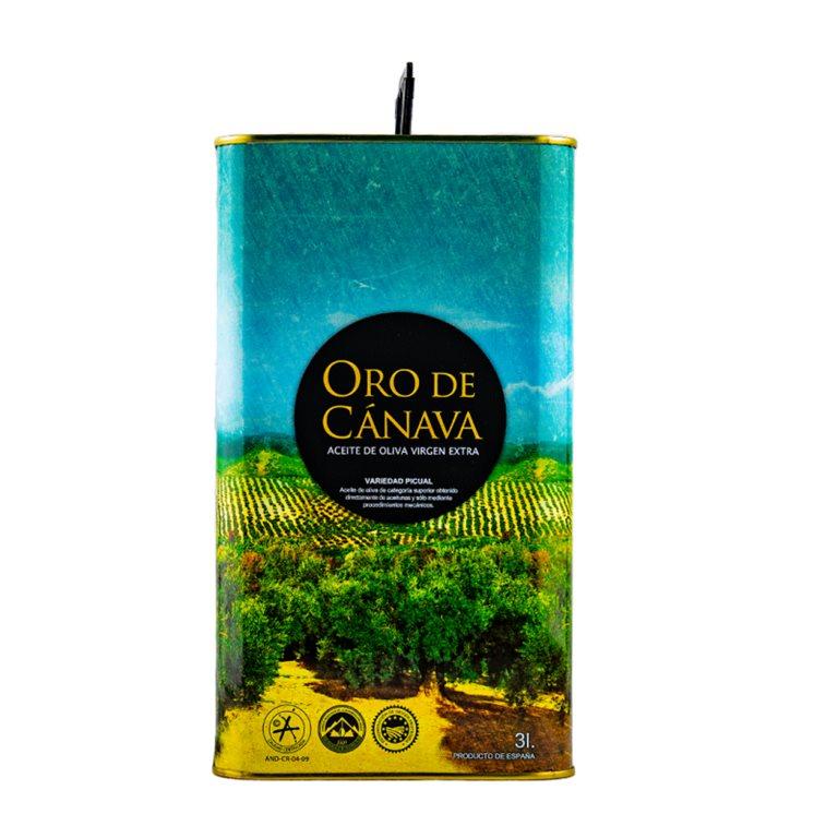 Oro de Cánava. Aceite de oliva Picual. Lata de 3 litros