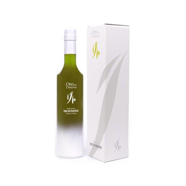 """Oro del Desierto. Aceite de oliva Ecológico.""""Edición limitada 1/10""""500 ml. Caja de 6 uds., 1 ud"""