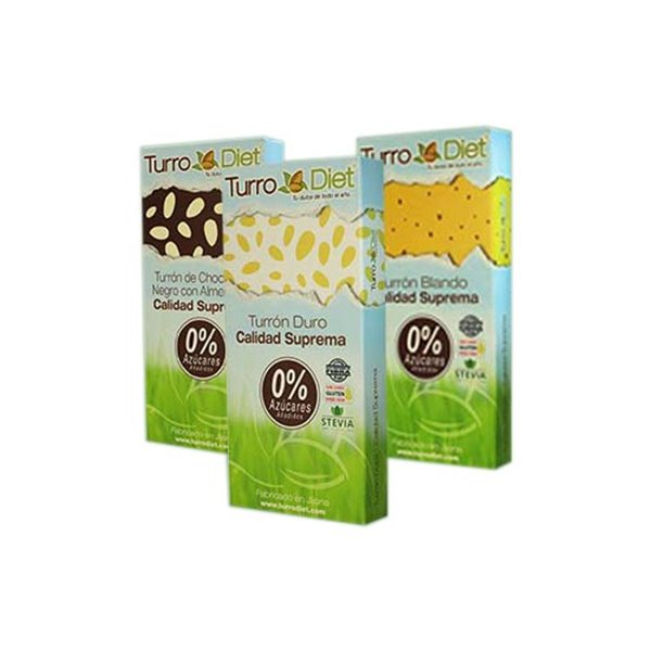 Pack 3 Turrodiet - Turrones con Stevia, 450g