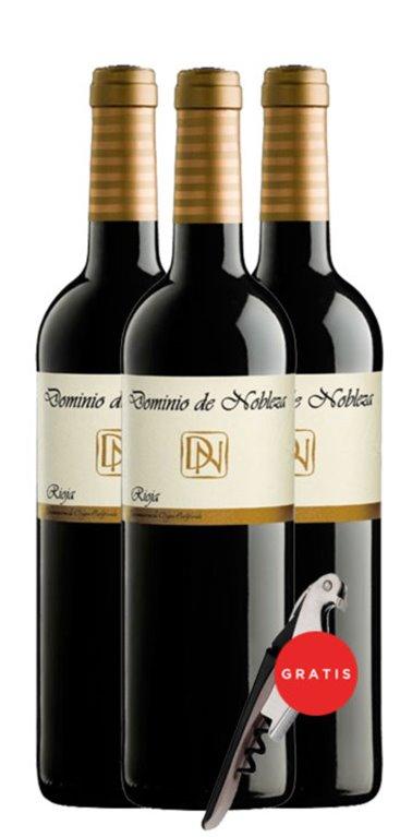 Pack 3 Vinos Tintos Dominio de Nobleza Crianza + de regalo 1 sacacorcho, 1 ud