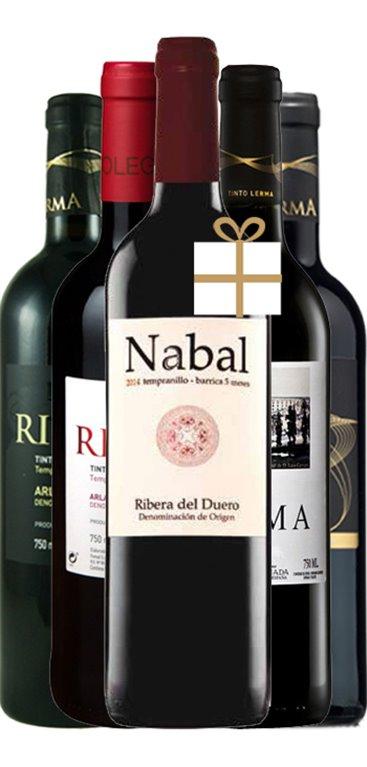 Pack 4 Botellas + 1 Gratuita Vino Tinto Lerma-Nabal, 1 ud