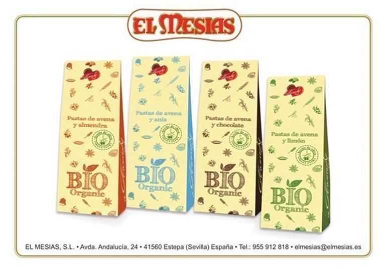 Pack 4 estuches (250 gr) de pastitas BIO de avena y aceite de oliva virgen extra con almendras, limón, chocolate y anís