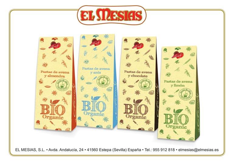 Pack 4 estuches (140 gr) de pastitas BIO de avena y aceite de oliva virgen extra con almendras, limón, chocolate y anís