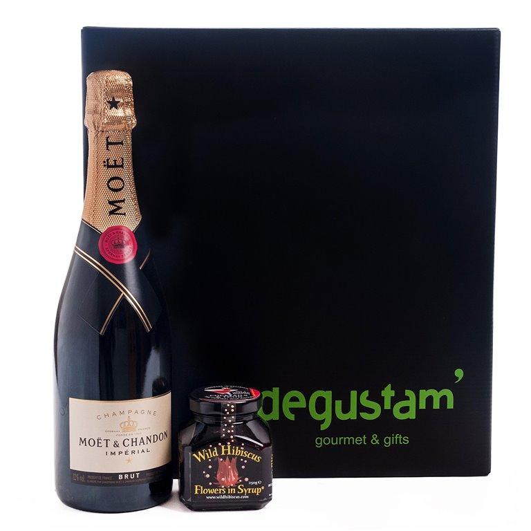 Pack con Champagne y Flores de Hibíscus, 1 ud