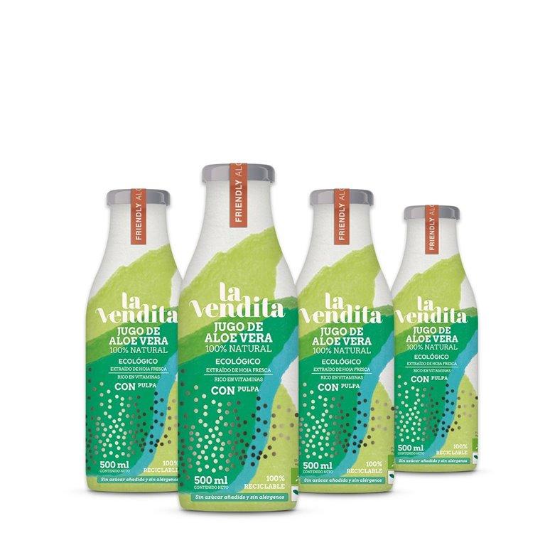 Pack de 4 Jugos de Aloe vera con pulpa 500 ml