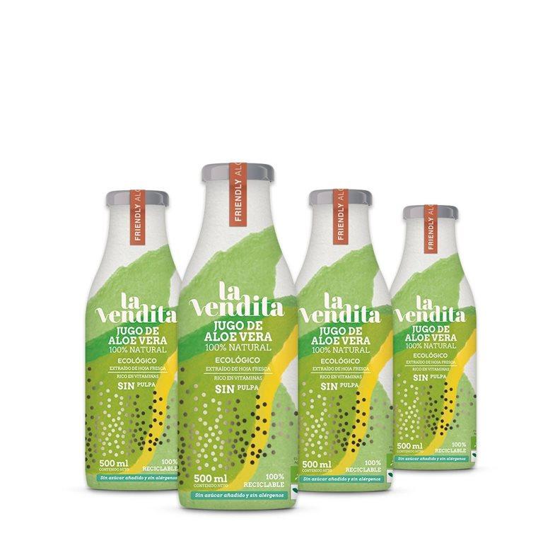 Pack de 4 Jugos de Aloe vera sin pulpa 500 ml