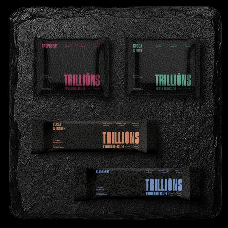Pack de barritas y bolas Trillions con harina de grillo 8 uds