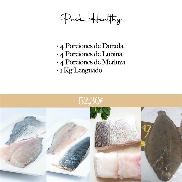 PACK HEALTHY 1 (Ref. 120252 - 4 P. dorada 120100, 4 P. lubina 120101, 4 P. merluza 120107, 1 kg lenguado 120254