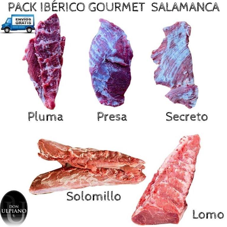 Pack Ibérico Gourmet Presa Secreto Pluma Solomillo y Lomo frescos Salamanca