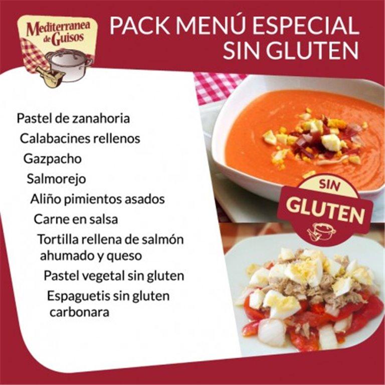 Pack menú especial Sin Gluten. Asesorados por ASPROCESE-FACE RESTAURACIÓN.