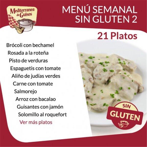Pack Menú Semanal Sin Gluten 2. Asesorados por ASPROCESE-FACE RESTAURACIÓN.