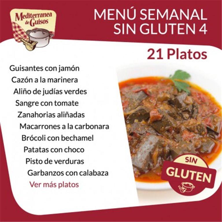 Pack Menú Semanal Sin Gluten 4. Asesorados por ASPROCESE-FACE RESTAURACIÓN.