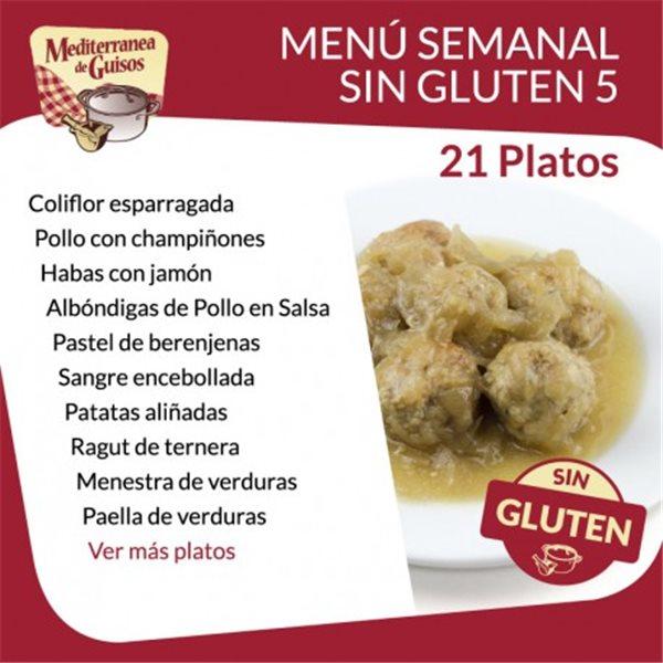 Pack Menú Semanal Sin Gluten 5. Asesorados por ASPROCESE-FACE RESTAURACIÓN.