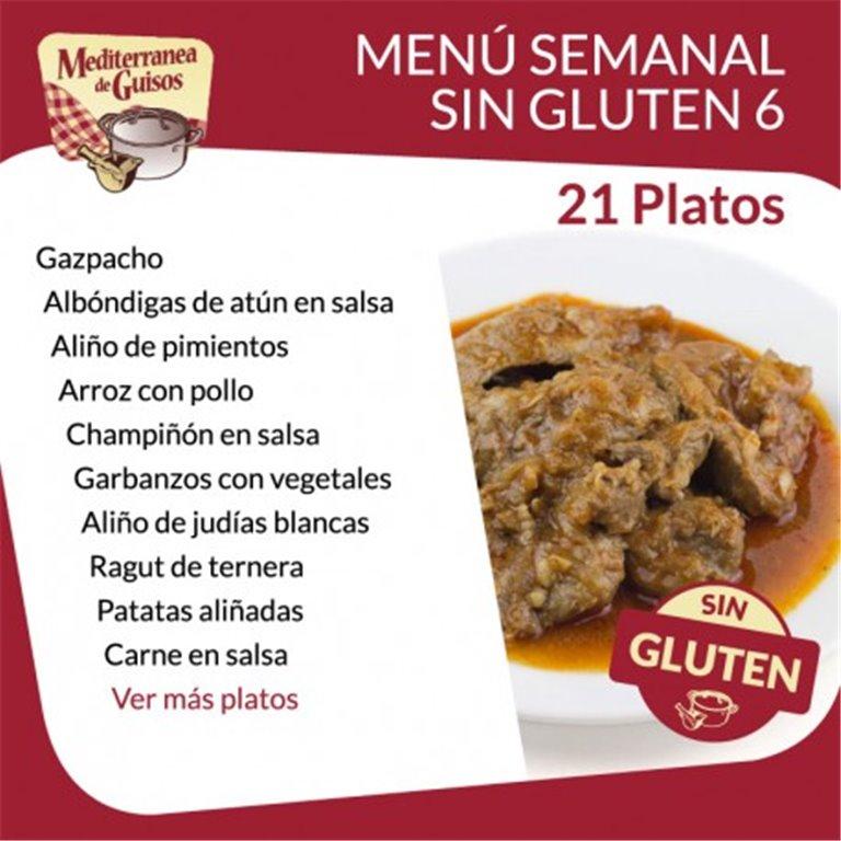 Pack Menú Semanal Sin Gluten 6. Asesorados por ASPROCESE-FACE RESTAURACIÓN.