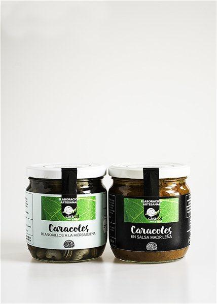 Pack Mixto Conserva artesanal de caracoles en Salsa Madrileña y Caldo Hierbabuena