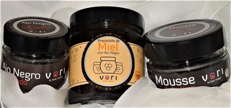 Pack para regalo 3 piezas CONVENCIONAL (Ajo Pelado+ Mousse+ Preparado de Miel con Ajo Negro)