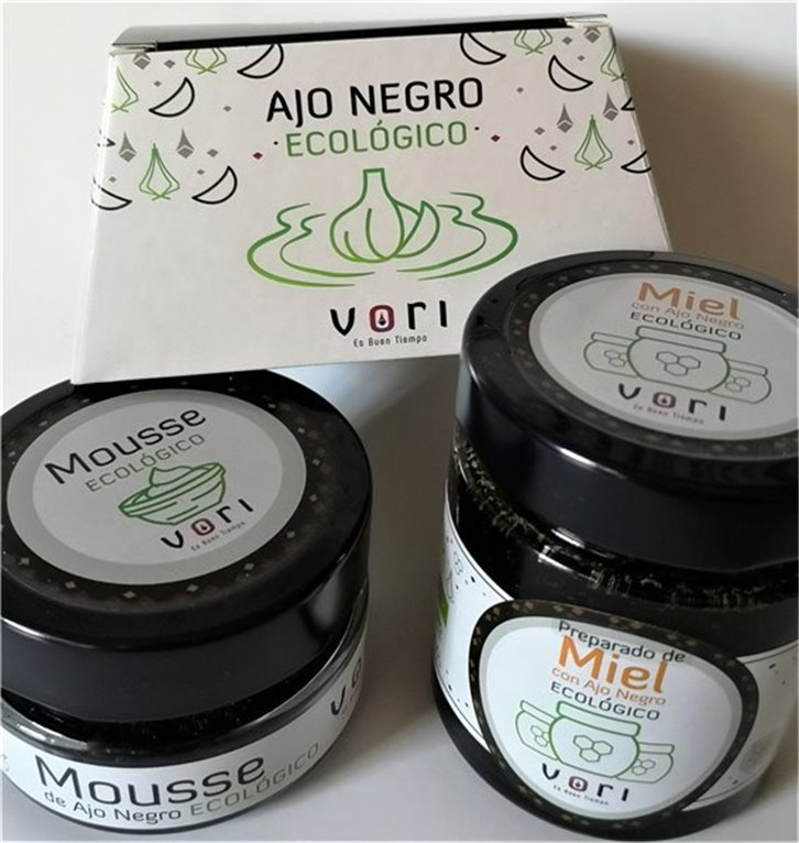 Pack para regalo 3 piezas ECO (Ajo Pelado ECO+ Mousse ECO+ Preparado de Miel con Ajo Negro ECO)