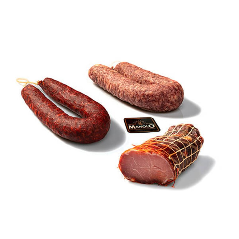 Gift pack assortment of sausages special Lomo, Salchichón and Chorizo de León