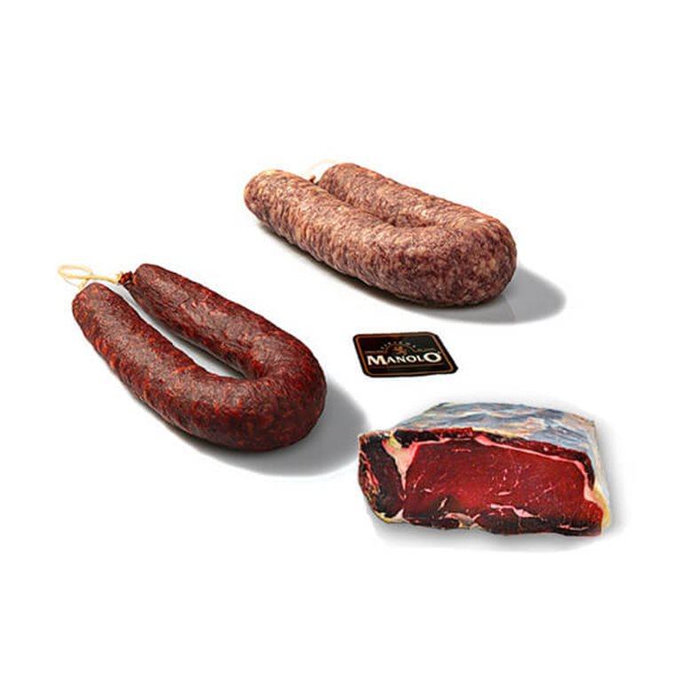Assorted beef jerky, Chorizo and Salchichón gift packs