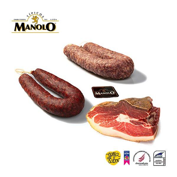 Pack regalo surtido especial embutidos : Jamón de León, Chorizo y Salchichón