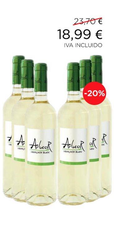 Pack Vino Blanco Arbeor Varietal Sauvignon Blanc 6 botellas, 1 ud