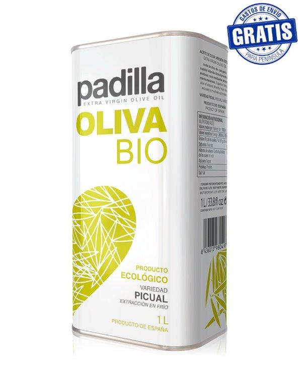 Padilla. Aceite de Oliva Virgen Extra Ecológico Bio. Caja de 12 x 1 Litro.