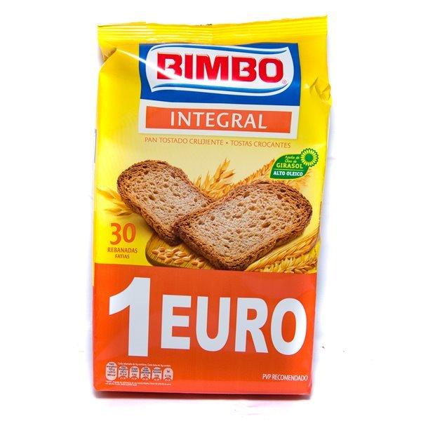 Pan Bimbo Integral (30 rebanadas de pan tostado crujiente)