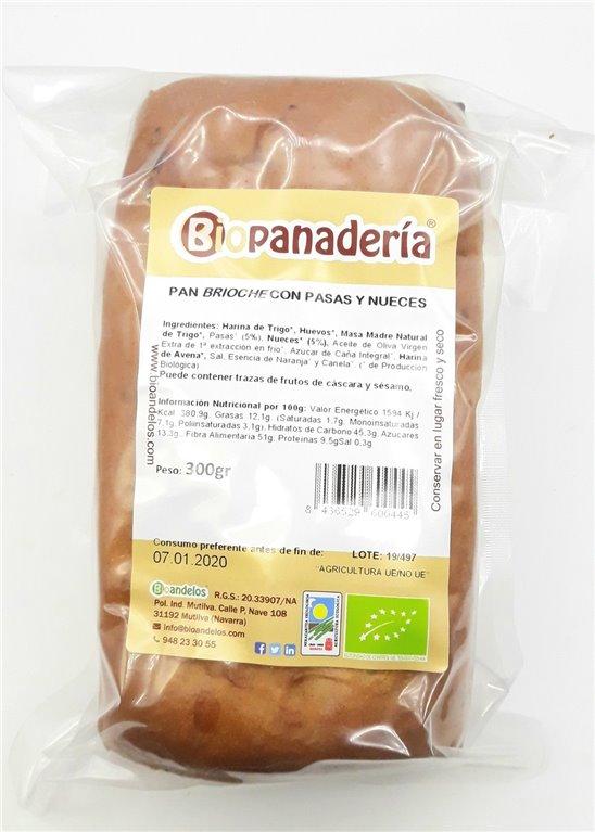 Pan Brioche de Trigo con Pasas y Nueces 250g Ecológicos Artesanos, 1 ud
