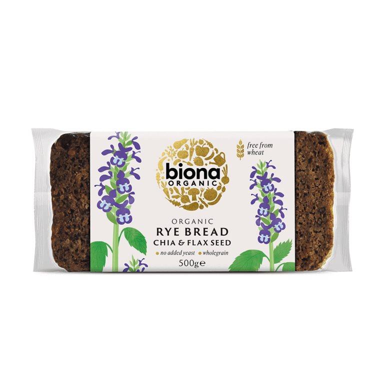 Pan de centeno BIO con chia y lino - Biona, 500 gr