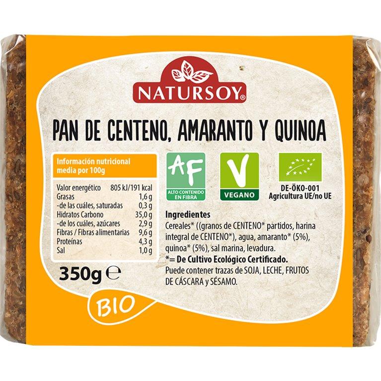 Pan de Centeno con Amaranto y Quinoa Bio 350g