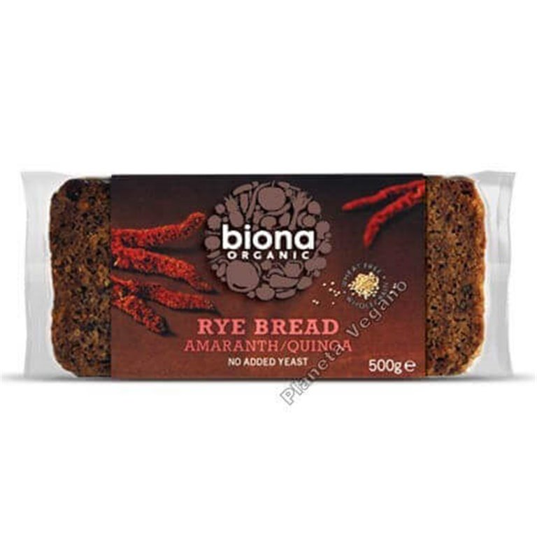 Pan de centeno con amaranto y quinoa BIO - Biona, 500 gr