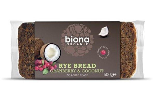 Pan de centeno con arándanos y coco - Biona